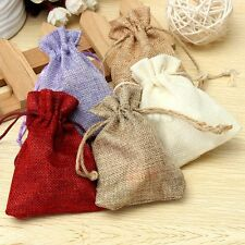 Natural Jute Hessian Drawstring Pouch Burlap Wedding Favor Gift Bags LOT 10x14CM