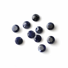 3mm-10mm Faceted Cut Round Opaque Natural Blue Sapphire Precious Loose Gemstone