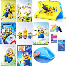 Minions Cartoon Figures Case for Samsung iPad Tablet PU Stand Leather Flip Cover