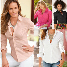 Sleeve Blouse Blouse Womens Slim Casual Shirt Cotton Top Fashion NEW Long Fit
