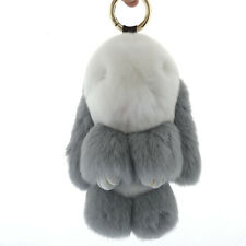 2 Tone color combo Real Rex Rabbit Fur Bunny PomPom Ball doll toy keychain charm