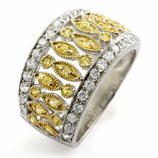 Fashion Round Cubic Zirconia Right Hand Unique Style Sterling Silver Ring 2 Tone