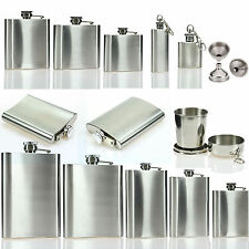 2 6 7 8 10 18 oz Stainless Steel Hip Flasks Liquor Whiskey Alcohol Bottle Funnel