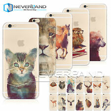 Watercolor Animal Print Soft/Hard Case Cover For Apple iPhone 6 6S Plus Samsung