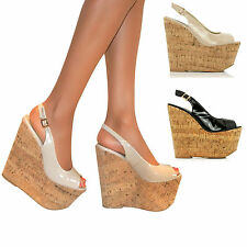 LADIES SLINGBACK PLATFORM PATENT CORK WEDGE HIGH HEEL PEEP TOE SHOE SANDAL SIZE