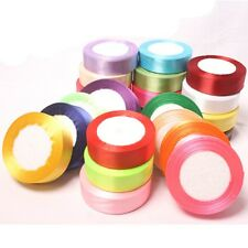 25 Yards Solid Satin Ribbons Wedding Party Decor Sewing Scrapbook DIY Craft CA
