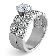 Round Cubic Ziconia Bridal Set Wedding Engagement 925 Sterling Silver Ring