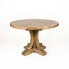 NEW Ronde Parquetry Elm Timber French Style Pedestal Round Dining Table - 120 cm