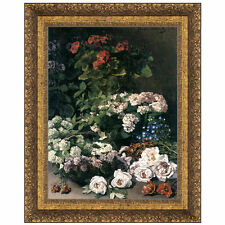 Design Toscano Spring Flowers, 1864, by Claude Monet Framed Painting Print