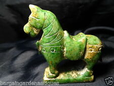 Vintage Style Green Jade Reproduction Carved Stone Small Horse Figure Statue