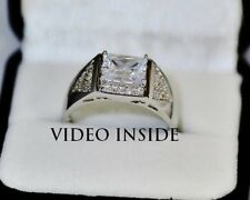 Mens Ring 3.4CT Engagement &Wedding Engagement Rings Diamond Ring Silver AUJ16