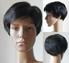 Handsome Men full wig Man wigs hairpiece toupee 100% Real natural human hair WIG
