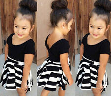 2Pcs Baby Girls Clothes T-shirt + Striped Skirt Set Kids Summer Dress Outfits