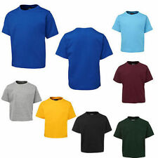 2x Pack Kids Boys Girls Children Tee Shirt Cotton T-Shirt Round Neck Size 2-14