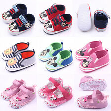 Newborn Baby Boy Girls Infant Prewalker Soft Sole Mickey Mouse Casual Crib Shoes