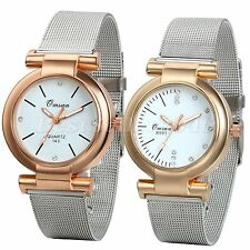 Women Ladies Stylish Stainless Steel Scale Mesh Band Analog Quartz Wrist Watch