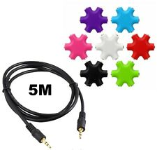 6 Way 3.5mm Aux Headphones Headset Splitter Hub & 5M Male Auxiliary Stereo Cable