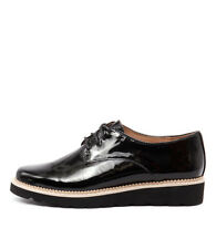 Mollini Their Black Patent/Black Sole Women Shoes Casuals Flats Lace-ups