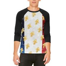 French Flag Grunge Distressed Fleur De Lis Mens Raglan T Shirt