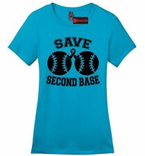 Save Second Base Cute Breast Cancer Awareness Ladies T Shirt Cause Boobies Z4