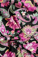 FabriQuilt Cotton Fabric, Gorgeous Pink-Purple Jacobean Paisley on Black