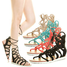 Women Open Toe Gladiator Rome Flat Sandal Strappy Wrap Lace Up Loop Cage Cut Out