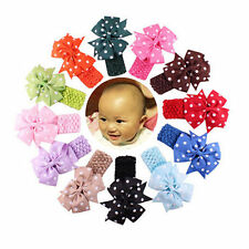 Baby Girl's Flower Elastic Headbands Dot Bows Hair Bands Multi-color 12pcs/pack