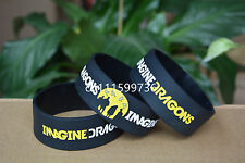 """IMAGINE DRAGONS Silicone Rubber 1"""" Wide Debossed Wristband Bracelet"""
