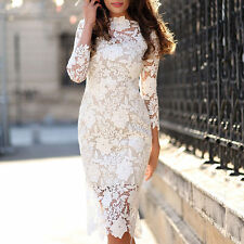 Women Lace Evening Sheath Party Dress White Bridesmaid Cocktail Prom Dress Gowns