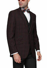 Mens Black Plaid Jacket With Solid Black Vest And Pants Three Piece Wool Suit