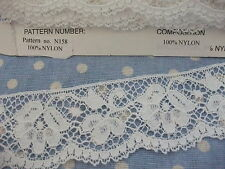 "N158 WHITE Nylon Cluny Nottingham Leavers Lace Valenciennes Trim 1.5"" wide"