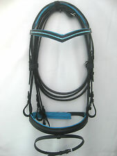 New snaffle leather bridle Black with 1 row Blue diamonte & pad with V Browband