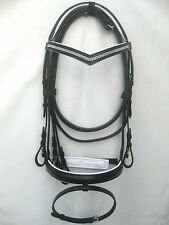 Snaffle leather bridle Black 2 row white diamonte on V BROWBAND + rein 4 sizes