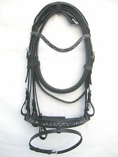 New Dressage bridle with Black crystal comfort poll noseband black +Reins