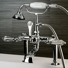 Wilshire Triple Handle Deck Mount Clawfoot Tub Faucet with Hand Shower