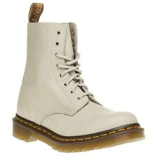 New Womens Dr. Martens White Pascal Leather Boots Ankle Lace Up