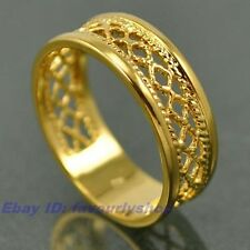 7,8,9# ELEGANT WOVEN BAND REAL 18K YELLOW GOLD PLATED RING SOLID FILL GP 7820r
