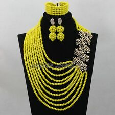 Opaque Yellow Crystal Nigerian Wedding African Beads Fashion Lace Jewelry Set