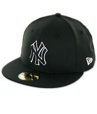 New Era New York NY Yankees BK BK WH Fitted Hat (Black/White) Men's 59Fifty Cap
