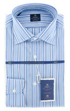 New $600 Luigi Borrelli Light Blue Striped Shirt - (EV0610874GIANNI)