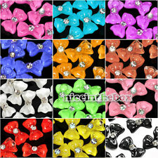 N98B 20X3D Glitter Bowtie Acrylic Slices Rhinestone Nail Art Tips Decoration DIY