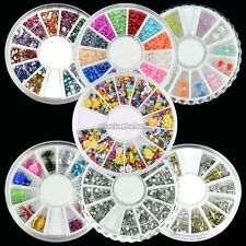 7 Type Nail Art Tips Decoration Pearl Crystal Glitter Slice Rhinestones + Wheel
