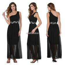 Women Sexy Chiffon Sequins Long One Shoulder Ball Gown Prom Formal Maxi Dress