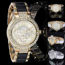 Fashion Luxury Gold Silver Bling Crystal Analog Ladies Quartz Wrist Watch N98B