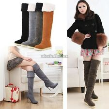 Lovely Ethnic Style Suede Women Winter Warm Knee High Snow Boots Shoes Size:5-9