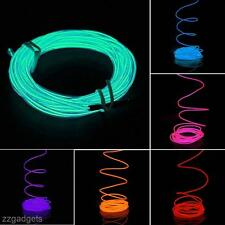 5M Dazzling Flexible EL Neon Light Glow Strip Rope Wire Tube+Inverter For Car