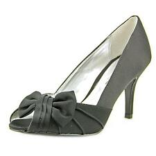 Nina Forbes Women  Peep-Toe Canvas Black Heels