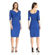 Black Halo Classic 3/4 Sleeve Jackie O Belted Blue Women Cocktail Party Dress