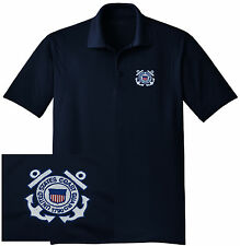 NEW US Coast Guard Embroidered Wicking DRYFIT Navy Polo Shirt - Free Shipping!