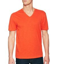 John Varvatos Star USA Men's V Neck Tee Shirt Signal Orange Cotton $69 msrp NWT